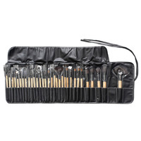 Khaki 32 Pack Wooden Handle Make-up Brush Collection With Bag