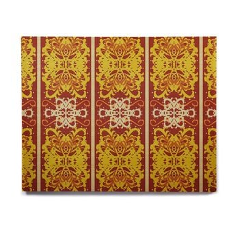 "Mydeas ""Butterfly Dog Damask"" Yellow Red Birchwood Wall Art"