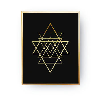 Geometric Star Poster, Abstract Print Poster, Real Gold Foil, Gold Print, Geometric Print Poster, Minimalist Poster,Black Background Print