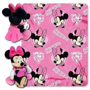 Minnie Mouse Cheerleader Chicago Bears NFL Throw and Hugger Pillow Set