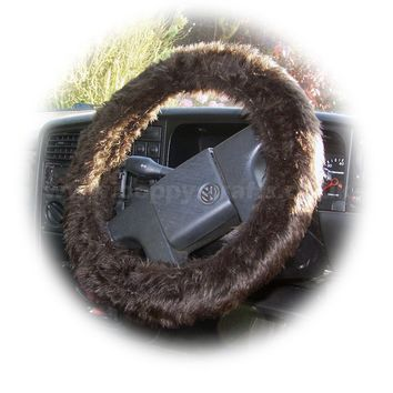 Dark Chocolate brown fuzzy faux fur car steering wheel cover