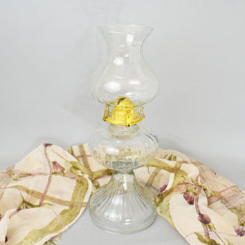 Glass Oil Lamp, Vintage Hurricane Lamp, Clear Glass Oil Lamp, Kerosene Oil Lamp, Ribbed Glass Oil Lamp, Table Lamp