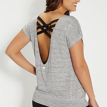 plus size spacedye top with strappy scoop back | maurices