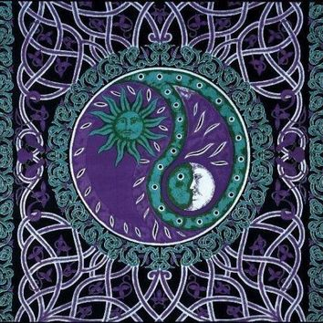 Handmade Celtic Celestial Yin Yang 100% Cotton Tapestry Bedspread Purple Full