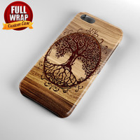 Tree Of Life Wooden Image Full Wrap Phone Case For iPhone, iPod, Samsung, Sony, HTC, Nexus, LG, and Blackberry