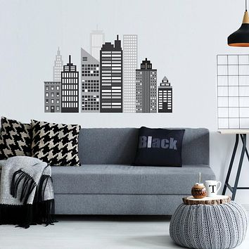 Cityscape Wall Decal, Black and White City Skyline Matte Fabric Wall Stickers