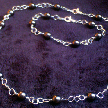 Black Glass Pearl Handcrafted Chain Necklace and Matching Bracelet