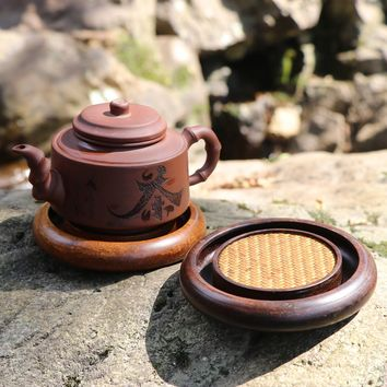 High quality Sandalwood teapot trivets small round tea tray tea service Drain kung fu tea set gadgets tool Japanese Tea ceremony