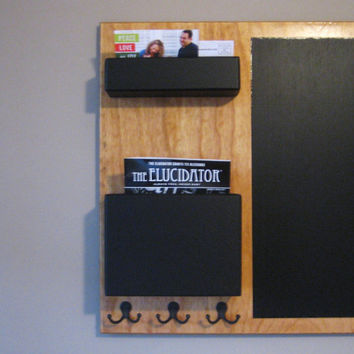 Stained Mail Organizer chalkboard Medium wall mounted pockets and hooks