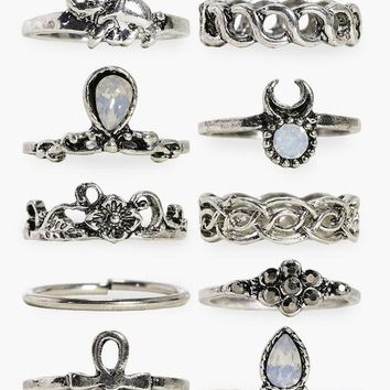 Daisy 10 Piece Stone Set Ring Pack | Boohoo