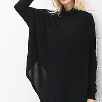 Soft Fleece Poncho - Black