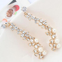 For Women  style Women Evening Fine Jewelery Brincos Full Crystal Pearls Gold Filled Long Drop Earrings SM6