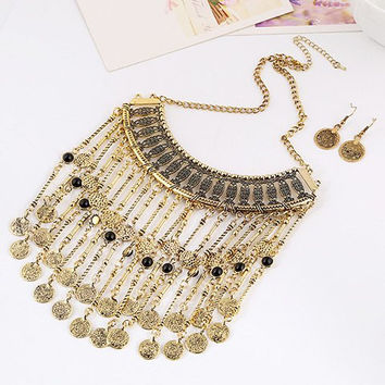 Multilayered Coin Necklace and Earrings