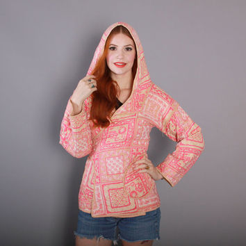 70s Quilted INDIA COTTON Wrap JACKET / 1970s Pink Indian Block Print Hooded Coat