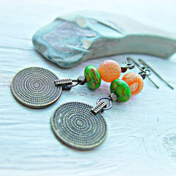 Boho Coin Earrings - Boho Jewelry - Gypsy Coin Earrings - Ethnic Earrings -  Coin Earrings - Tribal Earrings - Hippie Earrings