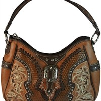 Montana West Concealed Carry Purse Faux Leather Handbag with Western Buckle and Embroidery