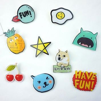 1 PCS Free Shipping Harajuku Acrylic Badge Letters Pin Brooch Cartoon Backpack Badges