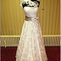 Lace Floral Long Beauty Wedding Dress White