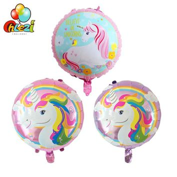 7pcs 18 inch New unicorn Rainbow horse Foil balloons birthday party decoration Supply circular Helium globos Baby shower toys