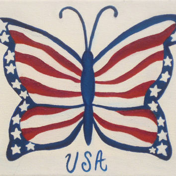 Butterfly oil painting Fourth of July patriotic by heartChicago
