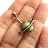 Bronze Saturn Planet Belly Button Ring