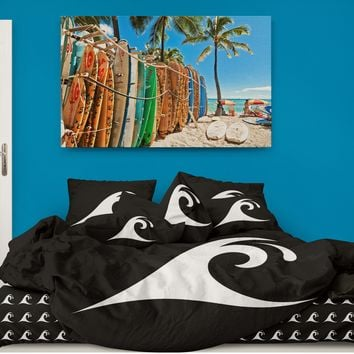 Black Epic Waves Surf Sheet Set from Surfer Bedding