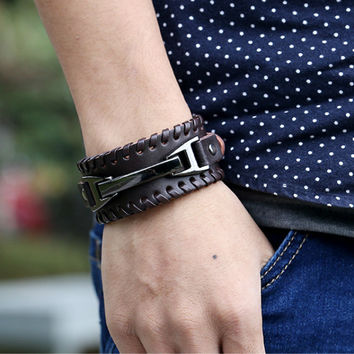 New Style Cool Punk Hand-woven Multilayer Leather Braided Rope Chain Man Bracelets Bangles Men Fashion Jewelry Love Gift