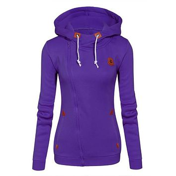Fleece Candy Colors Side Zip Sweatshirt