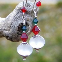 White Red Green Handmade Christmas Earrings Lampwork Sterling Beaded