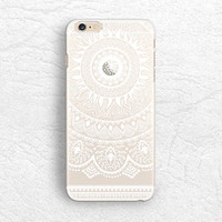 White Mandala matte transparent floral phone case for iPhone 5 5s, iPhone 6, Nexus 6, Sony z3, HTC one M8 M9, LG g3, Samsung S6 edge -P46