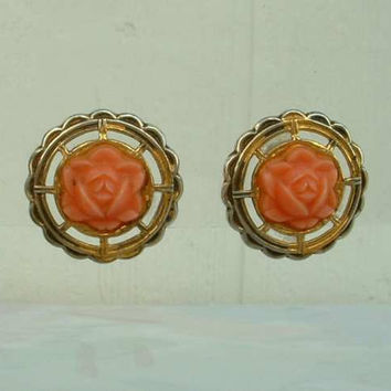 Pink Rose Celluloid Vermeil Screw Earrings Sterling Silver Vintage Jewelry