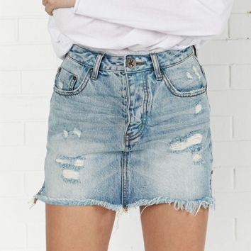 BLUE HART 2020 MINI HIGH WAIST DENIM SKIRT