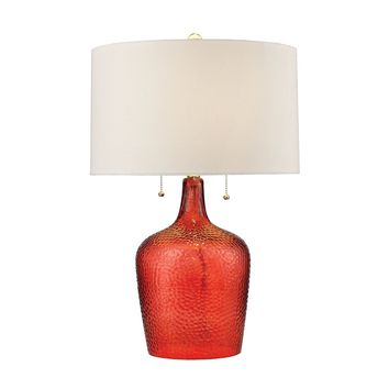 Hatteras Hammered Glass Table Lamp in Blood Orange