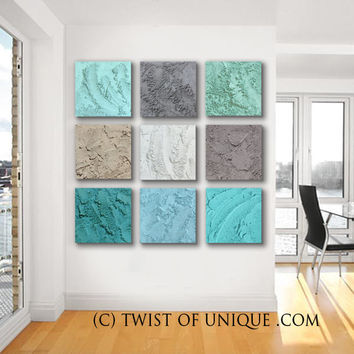 AcryliCrete Abstract painting / ORIGINAL 9 square (15 Inch x 15 inch)/ Concrete/ Stone/ Neutral colors, sea foam, tan, blue, white, gray