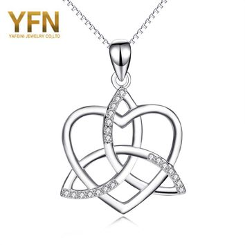YFN Geniuses 925 Sterling Silver Crystal Celtic Knot Love Heart Pendant For Women Fashion Necklace Jewelry