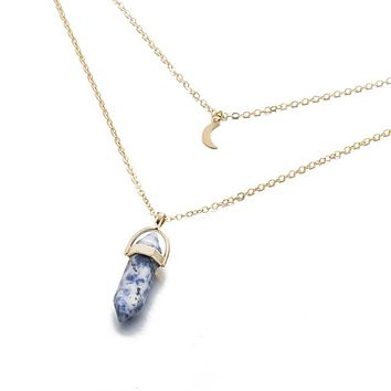 Crystal Opals Pendant Multi-layer Necklace Choker Stone Natural Goldplated Alloy Chain Double Layer Necklaces