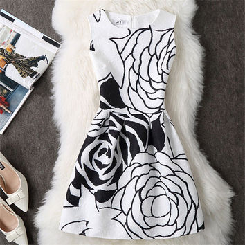 O-Neck Vintage Women Dress Mini Wedding Black White Robe Femme Evening Party Summer Dress Bohemian Vestidos De Festa Clothing