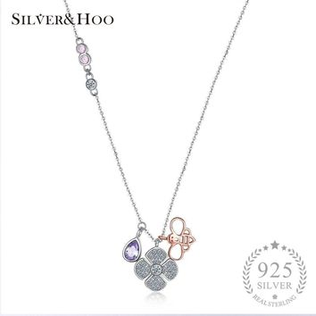 SILVERHOO Women Flower Bee Pendant Necklace 925 Sterling Silver Multicolor Zircon Fine Jewelry Collar Necklace Women Accessories