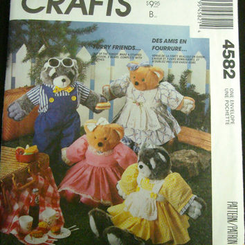 "Stuffed Raccoon Bear Doll & Clothes Sewing Pattern UNCUT McCalls 4582 Pamela Crerand 18"" and  24"""