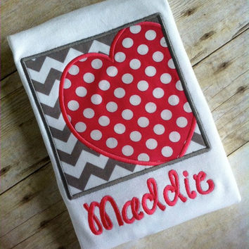 VALENTINE Heart Box Personalized Applique T-Shirt