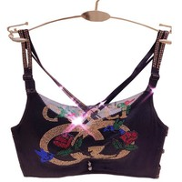 GUCCI Fashion Women Sexy Shiny Letter Rose Water Drill Pattern Lace Bra Underwear Top Vest Two Piece I12332-1