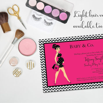 Baby and Co baby shower/ Baby Co Shower Invitation/ Girl baby shower invitation/Pink baby girl shower/ Chic mom shower invite/ pink shower