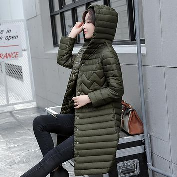 Office Wear Plus size 4XL-5XL Ladies Coats 2017 Winter Coat Women Parka Long Thin Slim Womens Coats And Jackets Outerwear