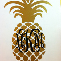 Pineapple Monogram Decal - Pineapple Car Decal - Pineapple Vinyl Monogram - Pineapple Iron On Monogram for clothing - Personalized Pineapple