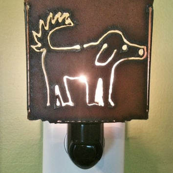 DOG SCRUFFY nightlight night light made of Rustic Rusty Rusted Recycled Metal