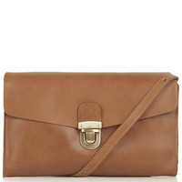 Leather Clip Lock Satchel - Tan
