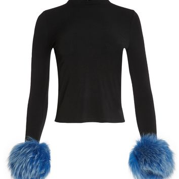 Haylen Mock Nk Top W Fur Cuffs | Alice + Olivia