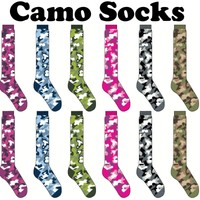 ALL CAMOUFLAGE CAMO Socks CrossFit Socks Knee High Camo Socks Neon colors