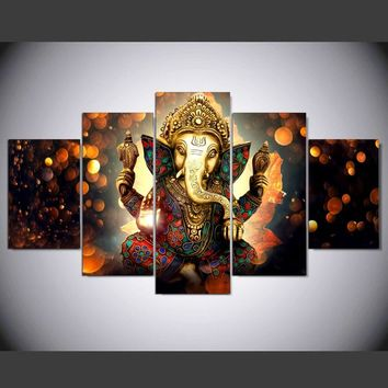 Hot Sales 5 Panel Unframed Modern Ganesh Elephant Trunk Indian God Hd Art Print Canvas Painting for Living Room Decor