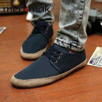 NEW ARRIVAL! 2017 Britsh Men's Casual Lace Breathe Freely Canvas shoes Slip On Loafer Shoes LS025